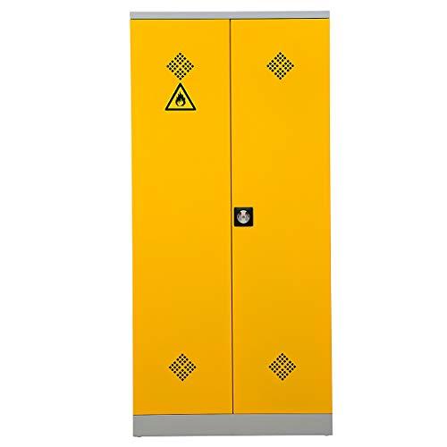Certeo Gefahrstoffschrank | HxBxT 195 x 92 x 42 cm | Grau-Rapsgelb | Umweltschrank Chemikalienschrank Spritzmittelspind