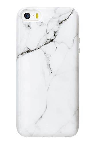 MUNDULEA White Marble Case Compatible iPhone 5s/iPhone 5/iPhone SE (2016 Edition), Glossy Soft TPU Ptotective Cover Compatible iPhone 5 5s (Marble White)