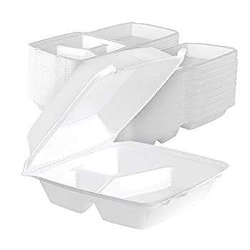 Stock Your Home 8 Inch Clamshell Styrofoam Containers  25 Count  - 3 Compartment Food Containers - Large Carry Out Container for Food - Clamshell Take Out Containers for Delivery Takeout Restaurants