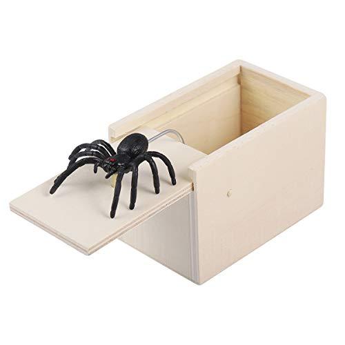 Toyvian Hölzerner Streich-Spinnen-Schrecken-Kasten-Witz-lustiges Überraschungs-Gag-Spielzeug