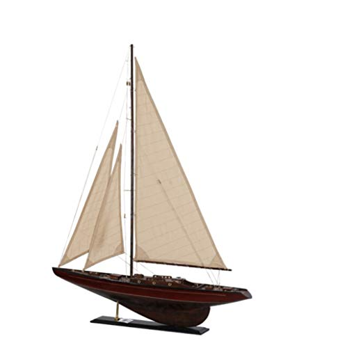 Nwn Sólido Modelo de velero de Madera Retro Rojo marrón Barco de Juguete Creativo Regalo Hecho a Mano artesanías salón Estudio decoración