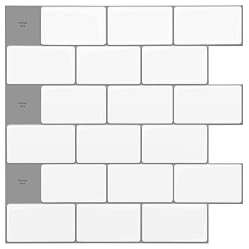 Art3d 12 x12  Peel and Stick Backsplash Tile Subway Sticker White for Kitchen (10-Sheet)