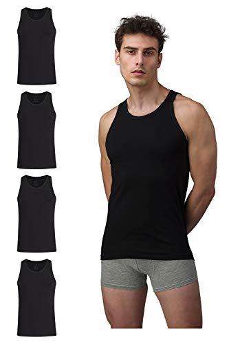 Burnell & Son Business Unterhemd Tank Top für Herren aus atmungsaktiver Baumwolle Slim Fit 4er Pack Schwarz Größe XXXL