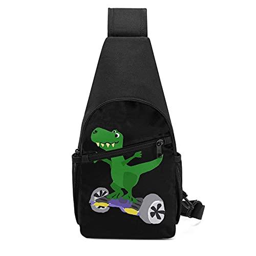 DJNGN Dinosaure sur Hoverboard sac à bandoulière polyvalent poitrine sac à bandoulière voyage randonnée sac à dos pour hommes et femmes