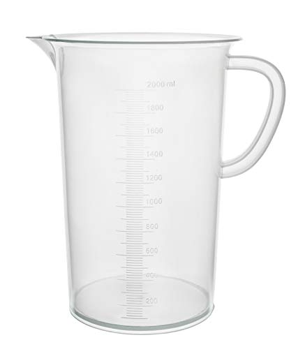 Eisco Labs 2000ml Polypropylene'Pitcher' - Beaker with Handle and Spout, 20ml Graduations