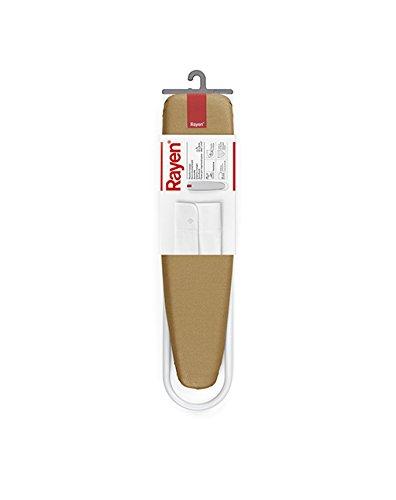 Rayen 6132.02 Plancha con Mangas L, Acero Pintado, Algodón Metalizado, Espuma, Blanco Mate y Dorado, 52x11x11 cm