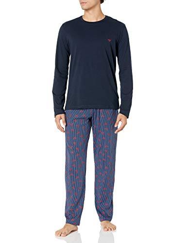 Emporio Armani Herren Pyjamas Pyjama Set, Streifen + Adler, Large