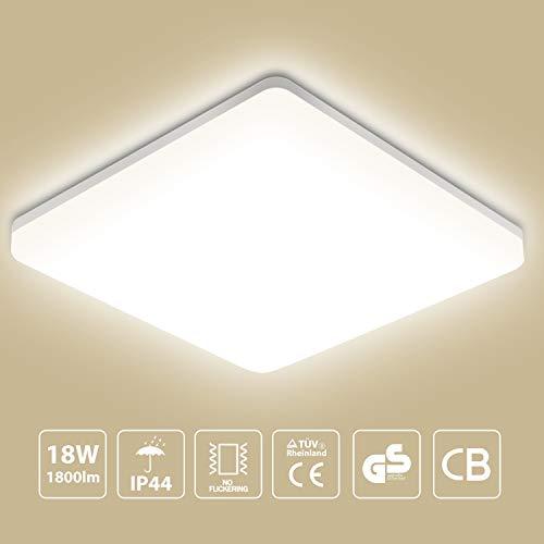 Oeegoo 18W LED Deckenleuchte Bad, 1800LM Flimmerfrei Badezimmerlampe (ersetzt 100W Glühbirne), IP44 Feuchtraumleuchte für Wohnzimmer, Küche, Balkon, Flur, Badezimmer usw, 4000K