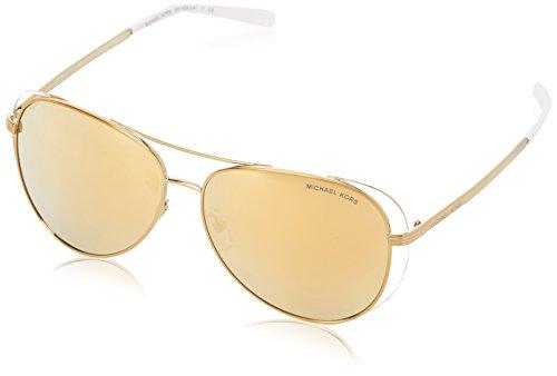Michael Kors Damen Lai 11927P 58 Sonnenbrille, Weiß (Pale Gold/White/Liquidgold)