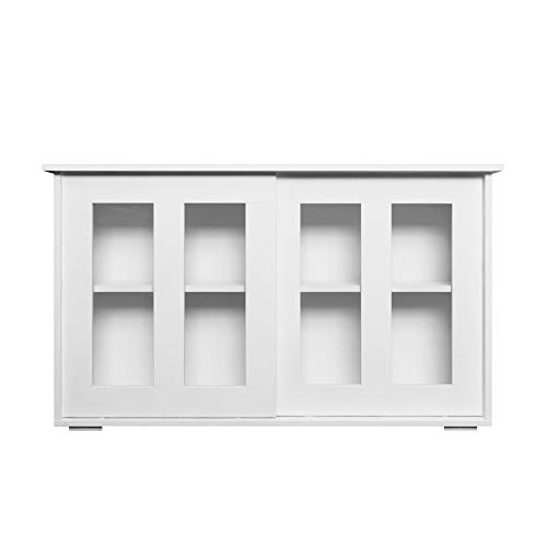 Aparador con 4 estantes ajustables y 2 puertas correderas transparentes, gabinete grande de madera robusta Fácil de armar Muebles de almacenamiento contemporáneos Ideal para cocina comedor, blanco