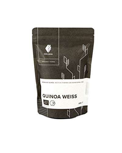 Edelgrün Bio Quinoa Weiß 0,5 kg | Samen, glutenfrei | Premium Vollkorn Koerner Inka Reis | organic eiweißreiches, feines, glutenfreies Getreide zum kochen oder für Müsli, nicht gepufft, nicht bunt