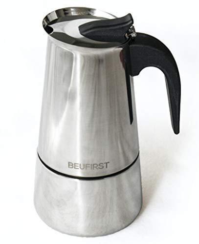 Cafetera Italiana Inducción Acero Inoxidable, 7 a 9 Tazas, Cafetera en Acero Inoxidable apta para cualquier Fuente de Calor: Inducción, Vitro, Gas o Alcohol (7-9 Tazas, 400ml)