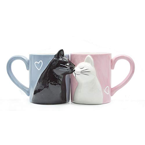 Kiss Cat Coffee Couple Mug set, Unique Funny Tea Ceramic Cup Set for Bride and Groom, Matching Gift For Birthday, Anniversary, Wedding, Engagement Valentines Day Girlfriend Wife (Cat mug)