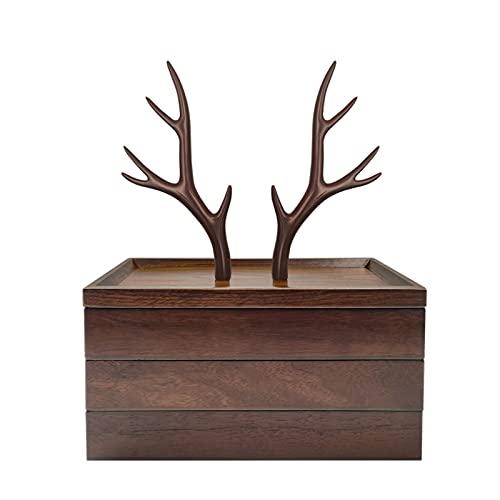 Caja de joyería de madera maciza con adornos de asadores Caja de almacenamiento de joyería retro Gabinete de artesanía de almacenamiento desmontable para pendiente, anillo, collar ( Size : 3 layers )