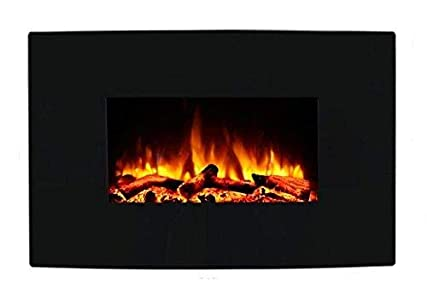 Endeavour Fires and Fireplaces Chimenea eléctrica Egton montado en la Pared, Vidrio Curvado Negro, 220/240 Vac,1&2kW, Control Remoto programable de 7 días (W 910mm x H 580mm x D 180m m)
