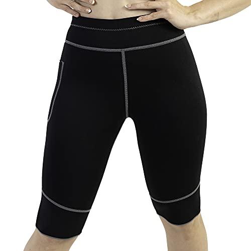 WABISABI DREAMS Pantalon Corto Sauna 100% Neopreno, Leggins Rodilla Reductores Adelgazantes Anticeluliticos Cintura Alta, Mallas Fitness Push Up consigue una Sudoración efectiva en Fitness Negro (S)