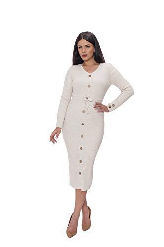 Miss Noir Damen Lange Strickkleid 3/4 langärmlig mit V-Ausschnitt Winterkleider Pulloverkleid Cocktailkleider Kleid Freizeit (Beige)