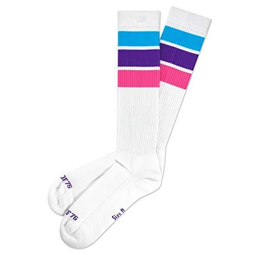 Spirit of 76 Unicorn Hi - Calcetines altos para patinaje con rayas, color blanco, turquesa, morado y rosa turquesa, lila, rosa. 43-46