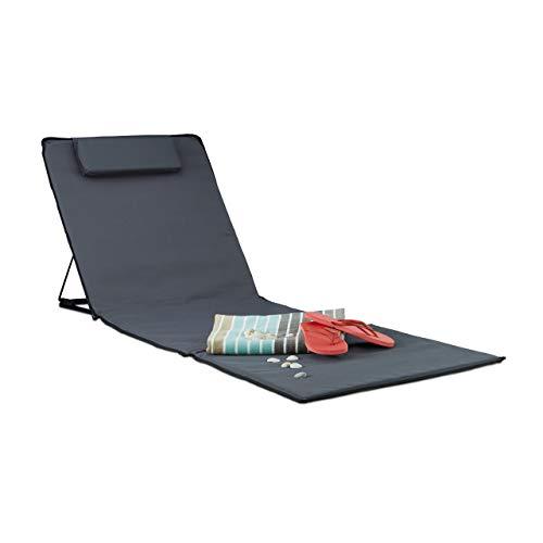 Relaxdays Strandmatte, gepolsterte Sonnenliege mit Kopfkissen, verstellbare inkl. Tragetasche Strandliege Deluxe XXL, Anthrazit, 44x41x25 cm