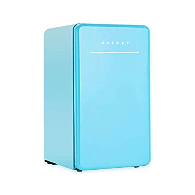 KUPPET Retro Mini Fridge Compact Refrigerator with Covered Chiller Compartment for Dorm, Garage, Camper, Basement or Office, Adjustable Removable Glass Shelves, 3.2 Cu.Ft, Blue