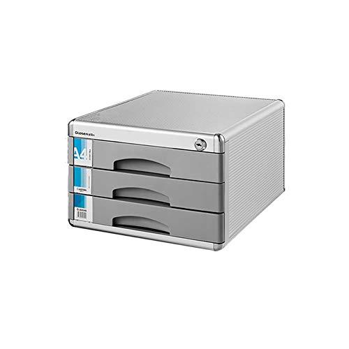 LUUDE bureaukast van aluminium, meerlagige ladendatastast, kantoorkast met slot, krasbestendig, slijtage