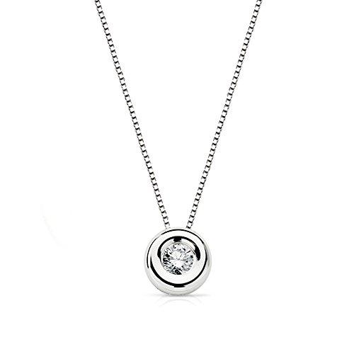 Alda Joyeros Gargantilla Diamante 0.10 Qtes. Oro Blanco 18k - Colgante chatón, Punto de luz