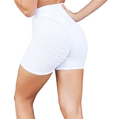 Shorts Deportivos para Mujer,Pantalones Cortos De Cintura Alta con Textura De Burbujas, Pantalones Cortos De Gimnasio para Correr, Pantalones Cortos De Entrenamiento De Ciclismo,Blanco,M