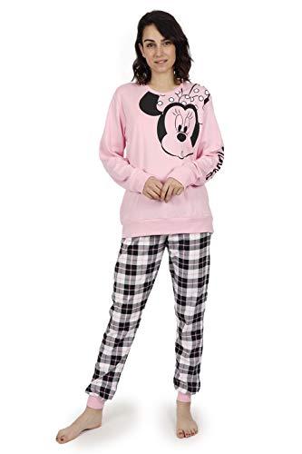 Disney - Pijama DE Mujer DE Invierno Minnie Check - Rosa, L