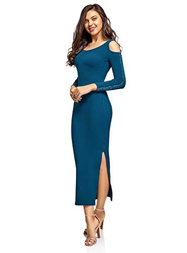 oodji Ultra Damen Maxi-Kleid mit Offenen Schultern, Blau, DE 38 / EU 40 / M
