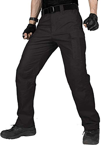 FREE SOLDIER Herren Cargo Arbeitshosen Wasserabweisende Taktische Hose mit Mehreren Taschen Schnelltrocknende Kampfhose Lässige, leichte Hose für Wandern(Schwarz-Aktualisierung,EU-52 UK-36)