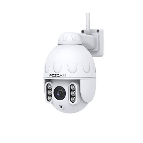 Foscam SD2 PTZ - Cámara IP Wi-Fi Domo PTZ 2MP con Zoom óptico x4, detección de Movimiento Inteligente, Color Blanco