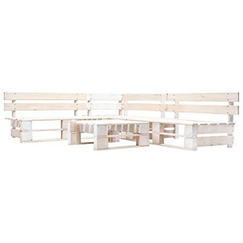 vidaXL Juego de Muebles de Palés para Jardín 4 Piezas Madera Blanco Terraza Patio Balcones Decoración Muebles Mobiliario Hogar Casa Bricolaje
