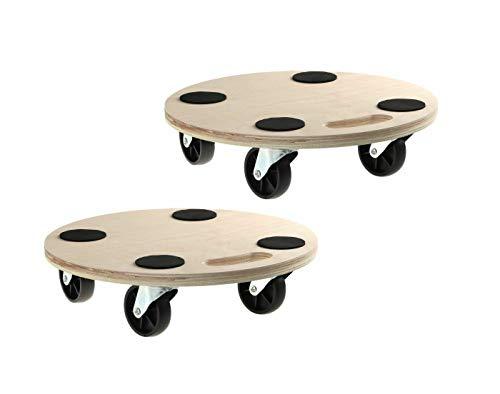2 Stück Rollbrett Transportroller Fassroller Möbelroller Blumenroller 200kg Rund 380mm
