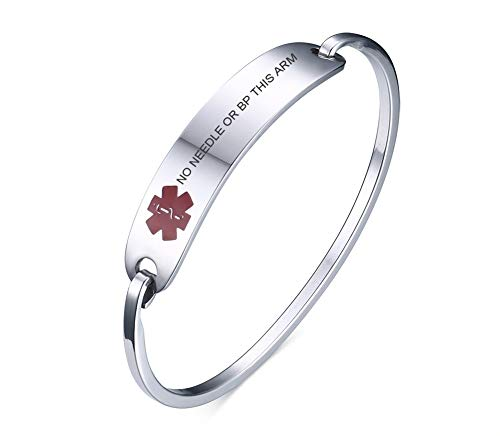 VNOX Medical Alert Emergency Jewelry NO NEEDLE OR BP THIS ARM Stainless Steel Cufff Bangle Bracelet,7.4'