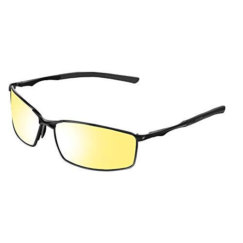 VVA HD Nachtsicht-Sportbrille polarisierte Brille für Männer und Frauen zum Fahren Ultraleichter UV-Schutz V103(Nachtsicht 2)