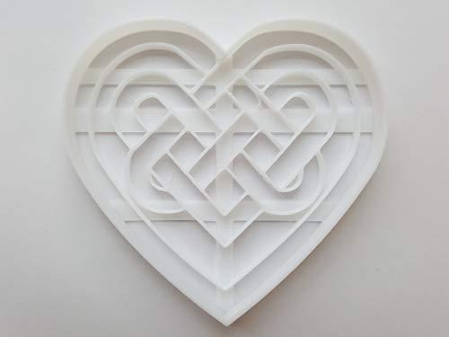 Emporte-pièce en forme de cœur celtique iris/gallois (pâte/fondant/biscuit/pâtisserie/tranchant) Taille M