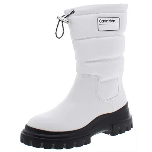 Calvin Klein Womens Laeton Mid-Calf Puffy Winter Boots White 9.5 Medium (B,M)