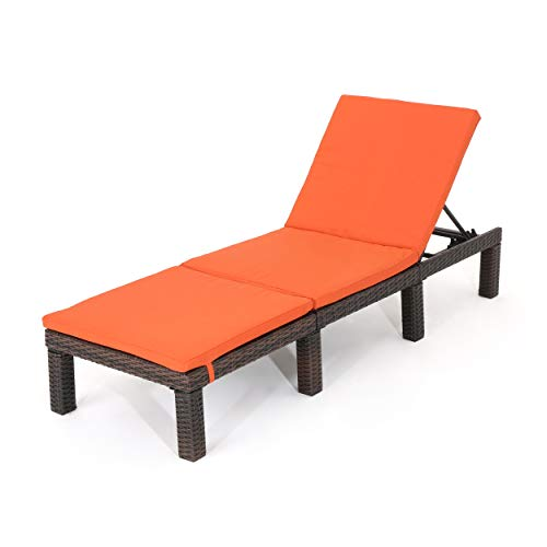 Christopher Knight Home Jamaica Outdoor Wicker Chaise Lounge with Water Resistant Cushion, Multibrown / Orange
