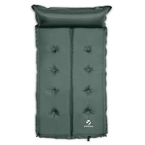 Yukatana Goodsleep 3 Doppel-Luftmatratze Isomatte Luftbett selbstaufblasend mit Kopfkissen für Camping oder Trekking (193 x 102cm, 3cm dick, selbstaufblasend, kleines Packmaß) Grün