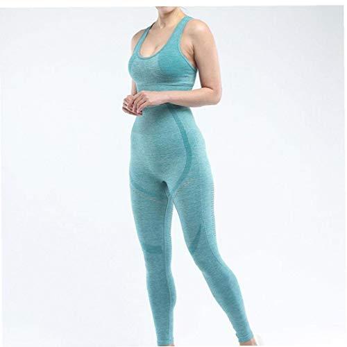 Aiyrchin Ropa de Deporte para Mujer Conjunto Transparente Trajes de Yoga Entrenamiento Conjuntos Pantalones de Talle Alto Legginngs Crop Top Verde L 2 Piezas