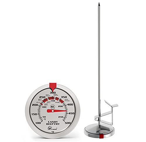"""Candy Thermometer Deep Fry Thermometer Meat Thermometer with 12"""" Probe Waterproof dial, no battery required, pot clip, fast instant read Large 2.5"""" dial, best for Candy Turkey,BBQ (2.5"""" Dial)"""