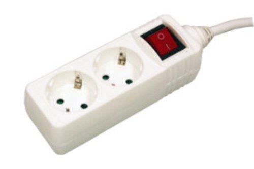 Electro DH M36192 –Base 2Steckdosen mit Schalter und Kabel 1.5m