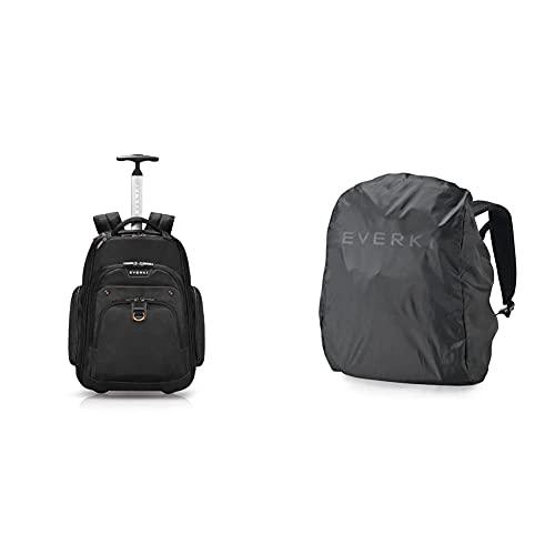 Everki Atlas – Laptop Rucksack auf Rollen / Rucksack Trolley für Notebooks von 13 bis 17,3 Zoll (33 – 43,9 cm), Schwarz & Shield EKF821 Rucksack Regenhaube schwarz