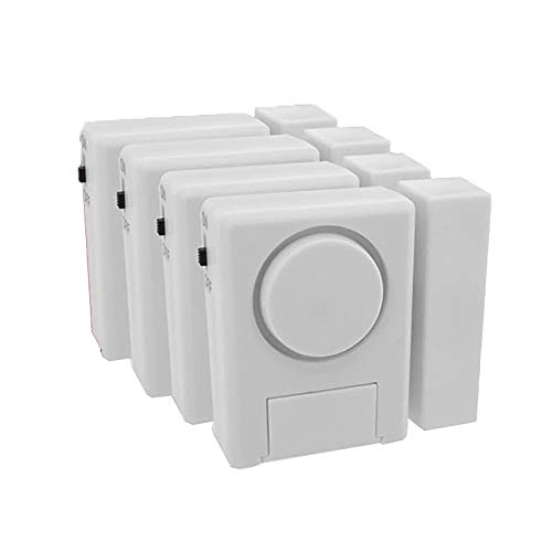 Sensor de puerta inalámbrica de alarma Chime Alarma de ventana 4 paquetes: alarma de 100dB fuerte y sensores magnéticos compatibles con la batería baja de la ventana de la puerta Tienda de la puerta d