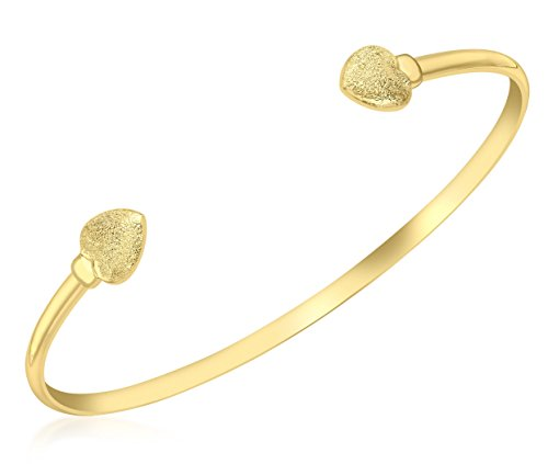 Carissima Gold 9ct Yellow Gold Textured Heart Torque Bangle