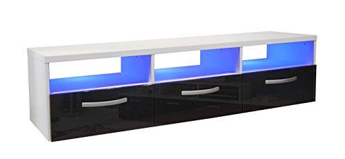 Berlioz Creations Kosmo 3 Meuble TV avec LED Panneaux de Particules Noir 145 x 40 x 36 cm, Fabrication 100% Française