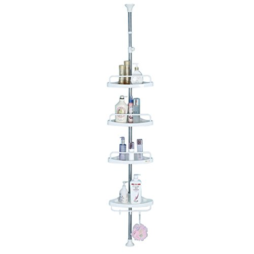 BAOYOUNI 4 Tier Bathroom Corner Shower Caddy Tension Pole Rust Proof Telescopic Rod Storage Rack Organizer