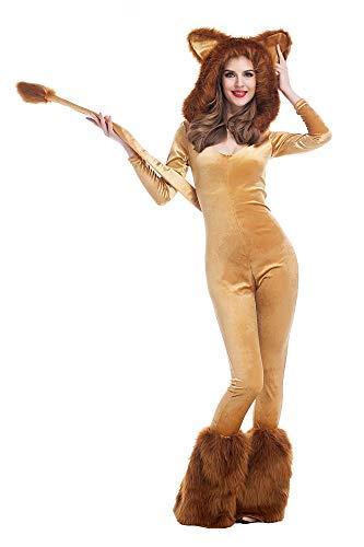 Sexy Löwe Damen Kostüm Overall mit Kapuze Kunstfell Karneval Löwin Jumpsuit Verkleidung- Gr. XS (Etikettgröße: M), Braun