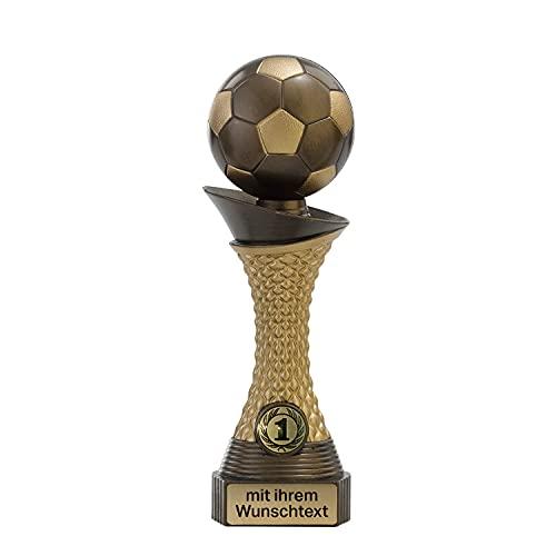 Deitert Fußball-Pokal in Bronze/Gold - Trophäe mit Wunschtext graviert und Sportemblem nach freier Auswahl - 25,5cm Sportpokal für Ihre Siegerehrung (C163)