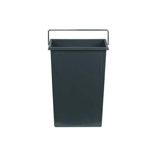 Hailo Inneneimer 7 Liter Kunststoff dunkelgrau mit Henkel verchromt Abfallsammler, Plastik, 22.6 x 11.5 x 34 cm